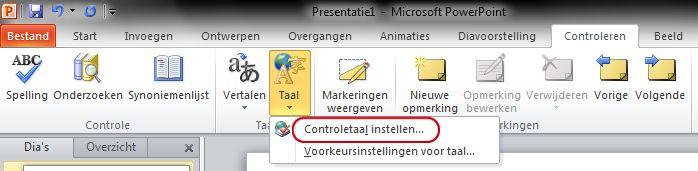 Taal instellen op tabblad Controleren van PowerPoint-lint