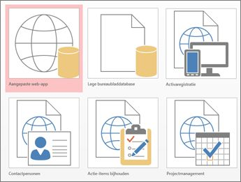 Sjabloonweergave in beginscherm in Access