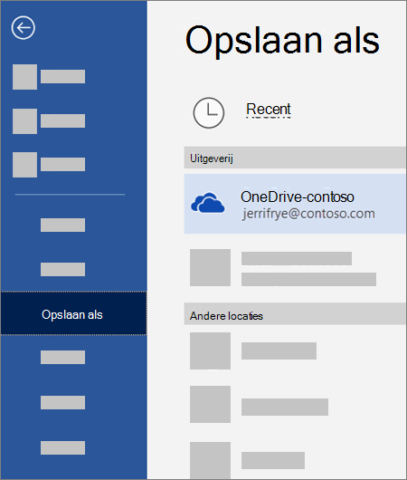 Een bestand opslaan vanuit Word in OneDrive voor Bedrijven