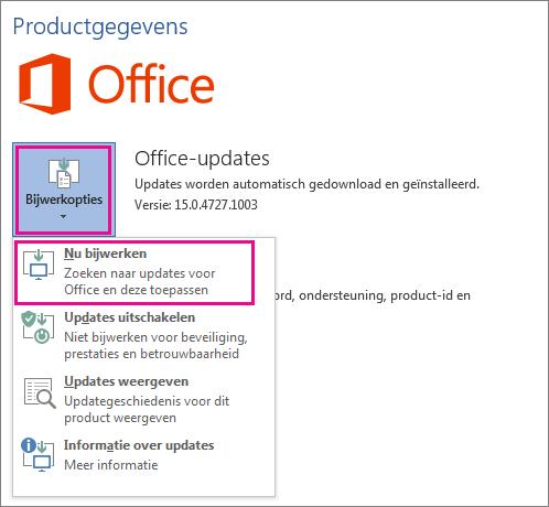 Handmatig controleren op Office-updates in Word 2016
