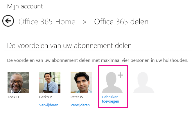 Schermafbeelding van de pagina Office 365 delen, waarop de optie Gebruiker toevoegen is geselecteerd.