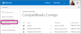 Captura de tela de documentos que as pessoas compartilharam com você, listados na exibição Compartilhado Comigo no OneDrive for Business.