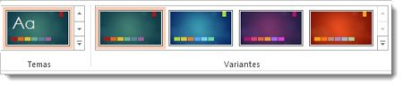 Guia Design: temas com variantes