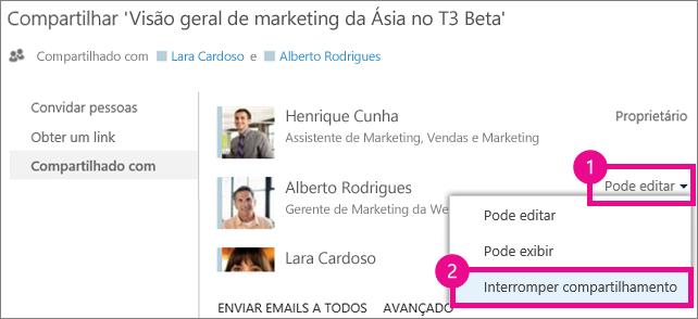 O comando Interromper compartilhamento na janela Compartilhar do OneDrive for Business