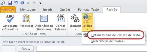 Idioma da Guia Revisão na Faixa de Opções Mensagem do Outlook