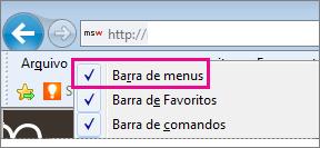 Mostrando a barra de menus no Internet Explorer