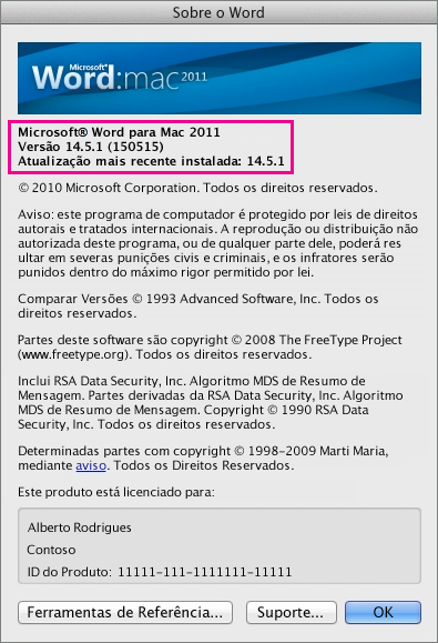 Word for Mac 2011 showing About Word page
