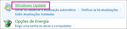 O link do Windows Update no Painel de Controle