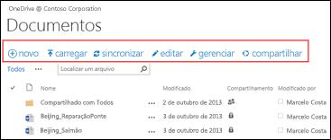 Usar a Barra de Comando Rápido no Office 365 para iniciar atividades na biblioteca de documentos do Site de equipe do SharePoint Online ou OneDrive for Business.