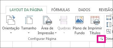Clique na seta no canto inferior direito do grupo Configurar Página