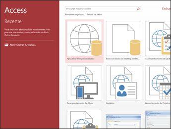 A tela Bem-vindo do Access, mostrando a caixa de pesquisa do modelo, o aplicativo Web personalizado e o Banco de dados do desktop em branco.