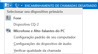 Captura de tela do menu Selecionar Seu Dispositivo Principal