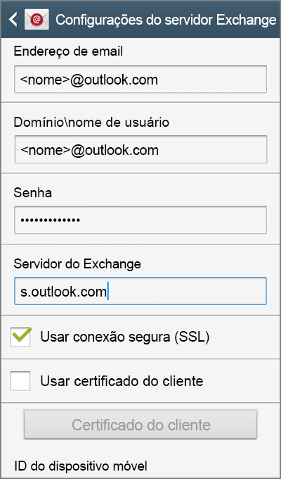 Configurações do servidor Exchange