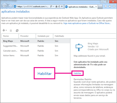 Habilitar um aplicativo do Outlook
