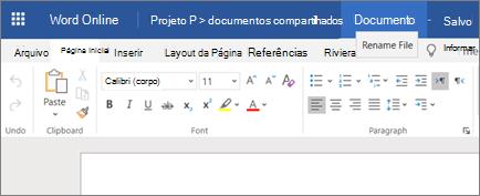 Clicando na barra de título para alterar o nome de um documento do Word Online