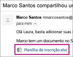 Email convidando o destinatário a compartilhar um documento