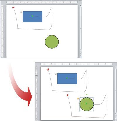 Exemplo que mostra uma animação copiada de um objeto para outro