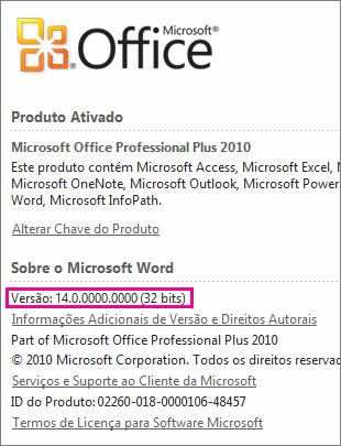 Número de versão do Office