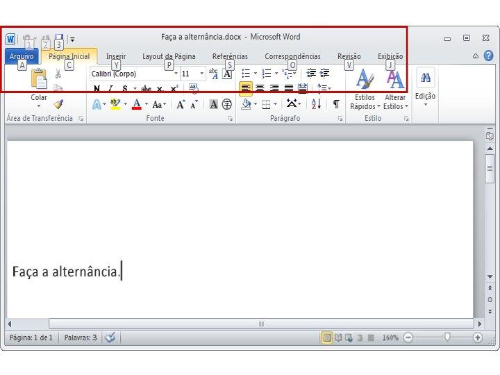 Guia Página Inicial no Word 2010 com exibição de Dicas de Teclas