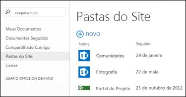 Selecionar Pastas de Site na barra de Ação Rápida no Office 365 para ver a lista de sites do SharePoint Online que você está seguindo.
