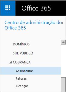 Link para a página Assinaturas no Office 365 Small Business Premium.