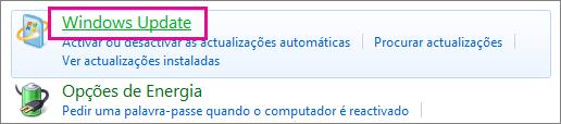 Ligação para o Windows Update no Painel de Controlo