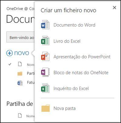 Opções do Office Online que pode utilizar a partir do botão Novo no OneDrive para Empresas