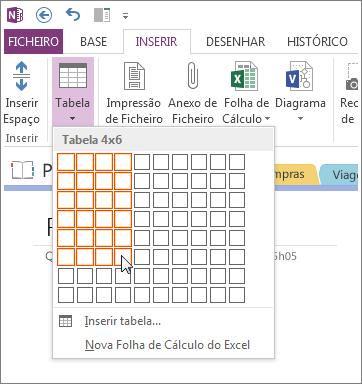 Insira uma tabela no OneNote.