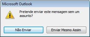 Caixa de diálogo de alerta referente a uma mensagem sem assunto