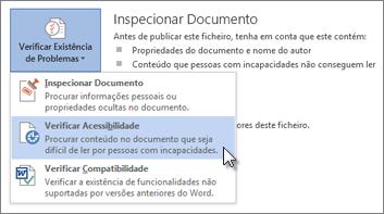 Comando Verificar Acessibilidade no Word 2013