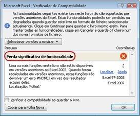 Caixa de diálogo Verificador de Compatibilidade