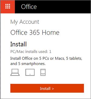 A página Contas da Loja Office a mostrar o botão Instalar