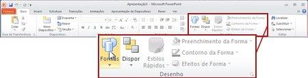 O grupo Desenho no separador Base no PowerPoint 2010