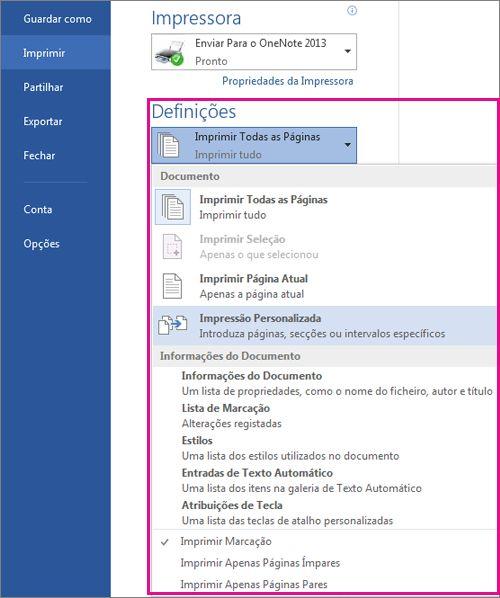 Alterar as definições de impressão do documento