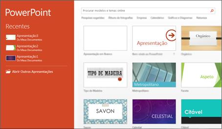 Ecrã inicial do PowerPoint 2013