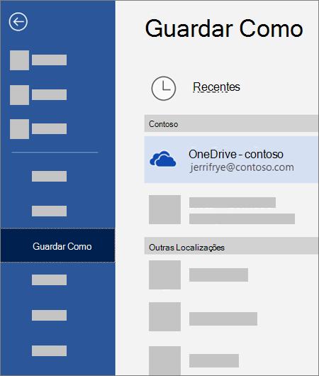 Guardar um ficheiro do Word no OneDrive para Empresas