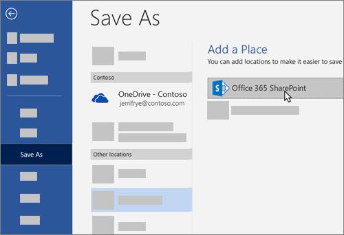 Adicionar o OneDrive para Empresas como um local para guardar no Word