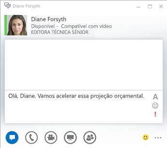 Captura de ecrã da janela de conversação por MI