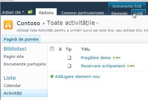 Fila Listă de sub instrumentele Listă dintr-un site SharePoint
