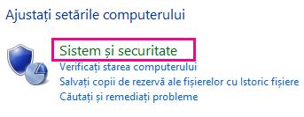 Linkul Sistem și securitate Windows 8 din Panoul de control