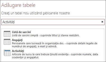 Caseta de căutare a șablonului de tabel din ecranul de bun venit Access.