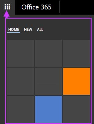 Opțiuni de navigare Office 365