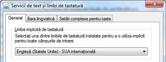 Caseta de dialog Servicii de text și limbi de intrare