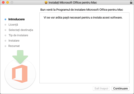 """Primul ecran de instalare Mac 2016 cu """"Continuare"""" evidențiat"""