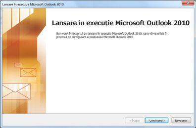 Fereastra de pornire Outlook 2010