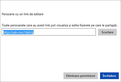 Copiați adresa URL scurtată pentru a o partaja cu alții