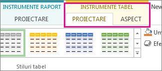Grupul Stiluri tabel din fila Proiectare instrumente tabel