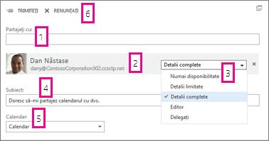 Partajați calendarul în Office Web App