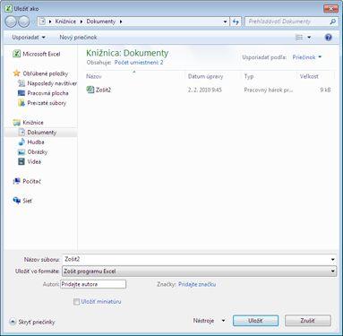 Dialógové okno Uložiť ako programu Excel