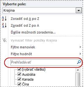 Vyhľadávacie pole v zozname filtrov
